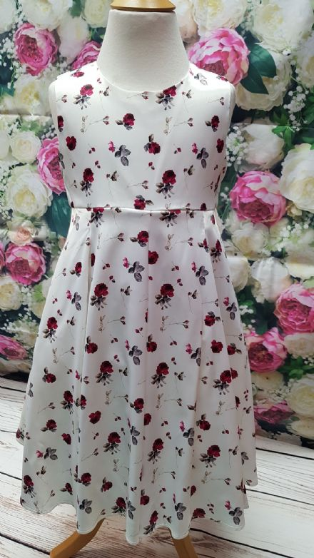 Girls Red Rose Floral Occasion Party Dress